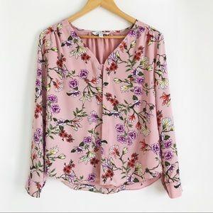 41 HAWTHORNE Pink Floral V- Neck Blouse